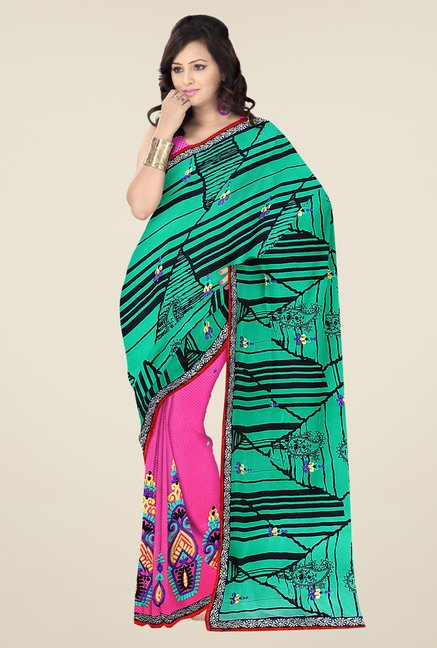 Triveni Pink & Green Embroidered Georgette Chiffon Saree