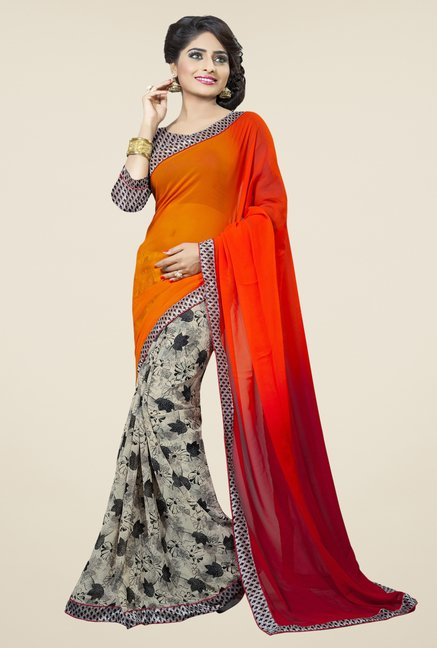 Triveni Multicolor Floral Print Dry Clean Saree