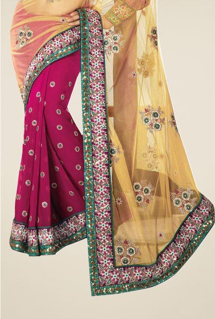 Triveni Magenta & Beige Embroidered Net Georgette Saree