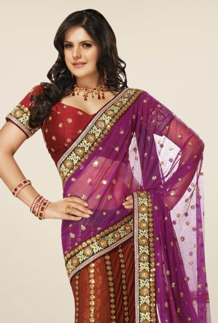 Triveni Multicolor Embroidered Net Georgette Lehenga Saree