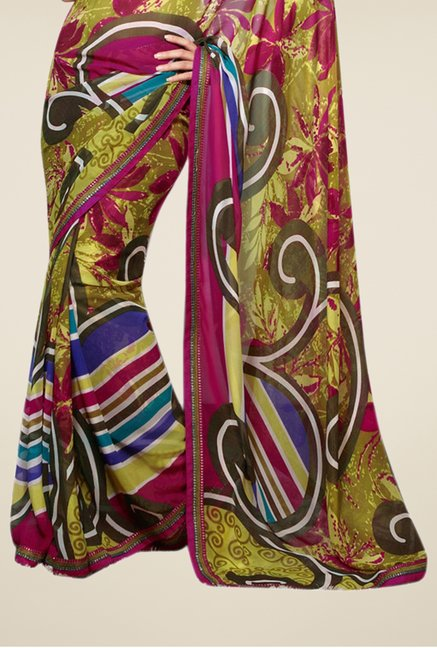 Triveni Multicolor Printed Faux Georgette Party Saree