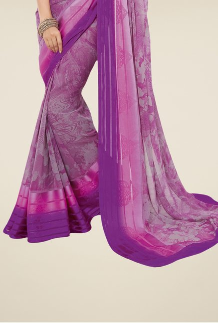 Triveni Purple Printed Jacquard Saree