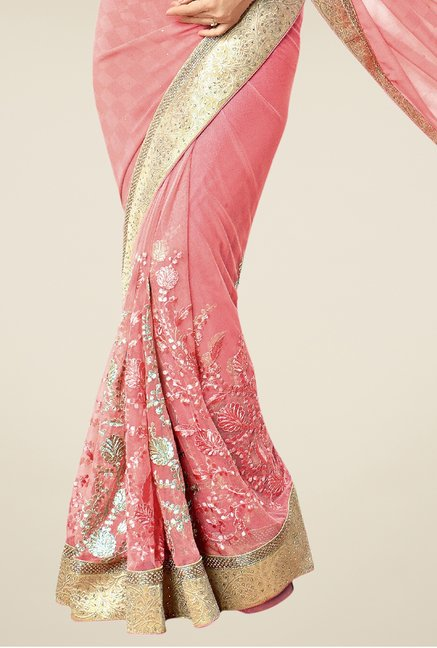 Triveni Peach Embroidered Net Saree