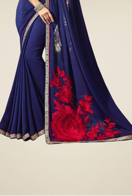 Triveni Navy Embroidered Faux Georgette Saree