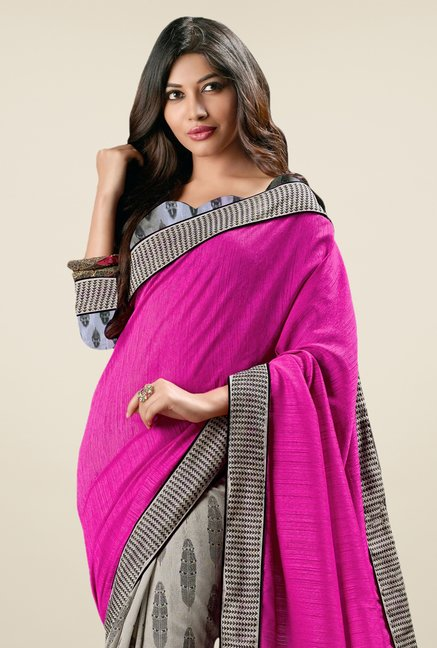 Triveni Grey & Pink Printed Art Silk Saree