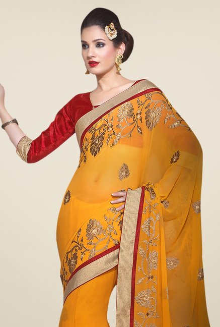 Triveni Mustard Embroidered Faux Georgette Saree