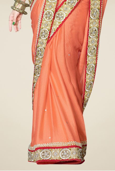 Triveni Orange Embroidered Faux Georgette Saree