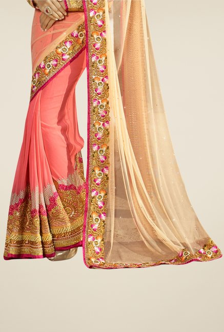 Triveni Peach Embroidered Net Chiffon Saree