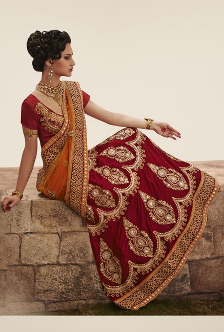 Triveni Maroon & Peach Embroidered Dry Clean Saree