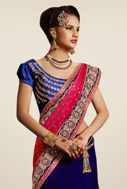 Triveni Dark Blue & Pink Embroidered Velvet Lehenga Saree