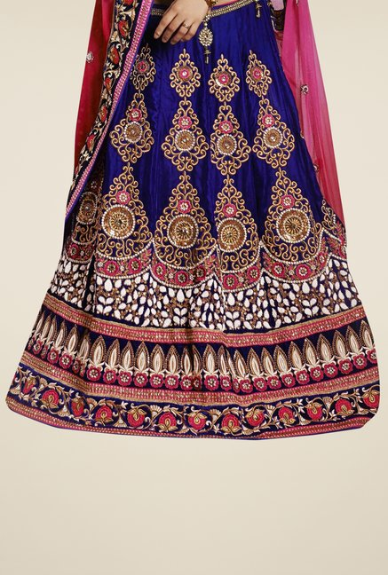 Triveni Blue & Pink Embroidered Net Velvet Lehenga Saree