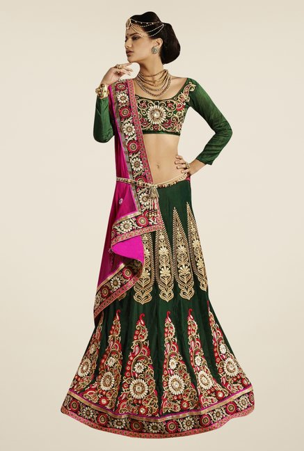 Triveni Green & Pink Embroidered Net Velvet Lehenga Saree