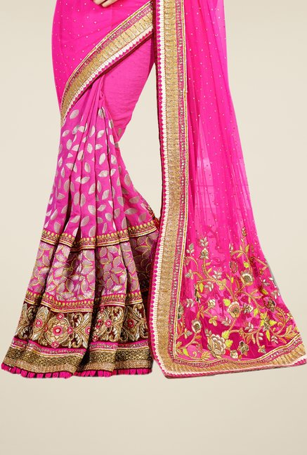 Triveni Magenta Embroidered Net Cotton Brasso Saree