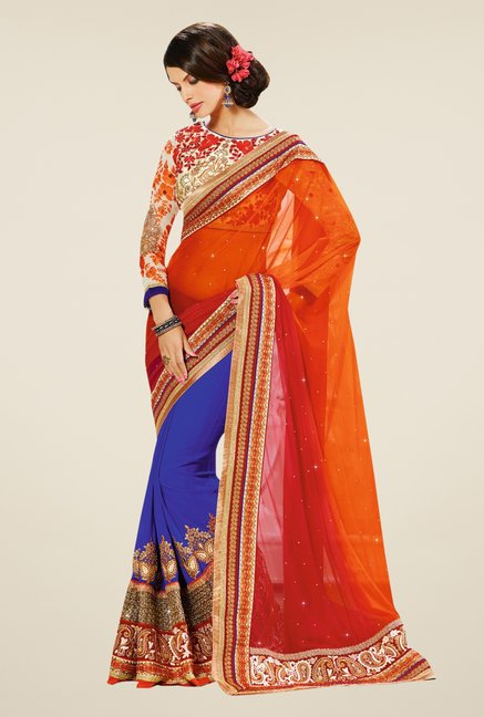 Triveni Blue & Orange Embroidered Net Pure Georgette Saree