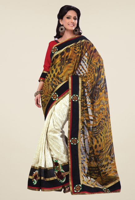 Triveni Cream & Black Embroidered Jacquard Art Silk Saree