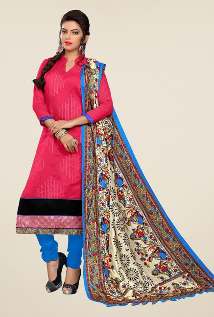 Triveni Pink Embroidered Dress Material