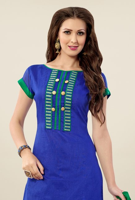 Triveni Blue Embroidered Dress Material