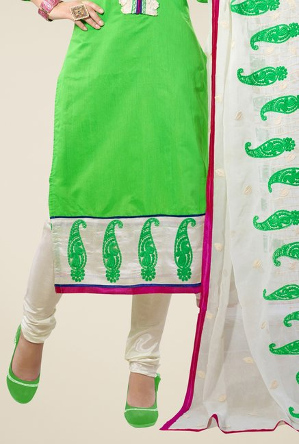 Triveni Green Embroidered Chanderi Silk Dress Material