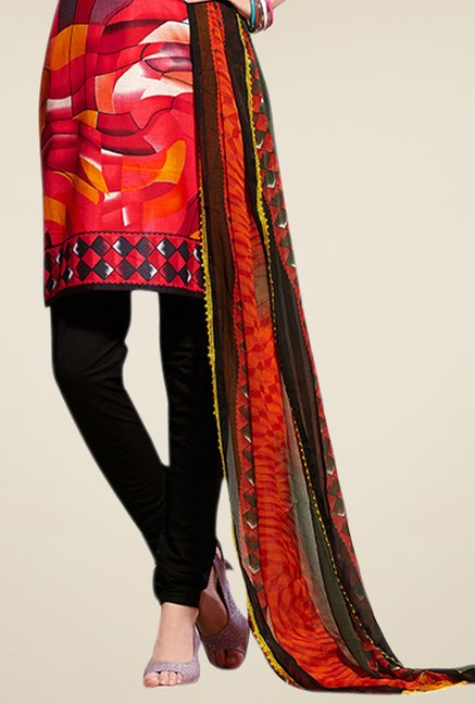 Triveni Red Printed Blended Dress Material