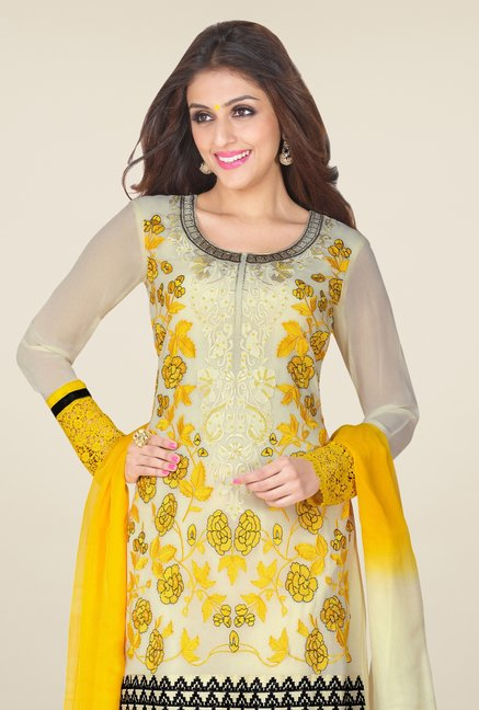 Triveni Off White & Yellow Embroidered Dress Material