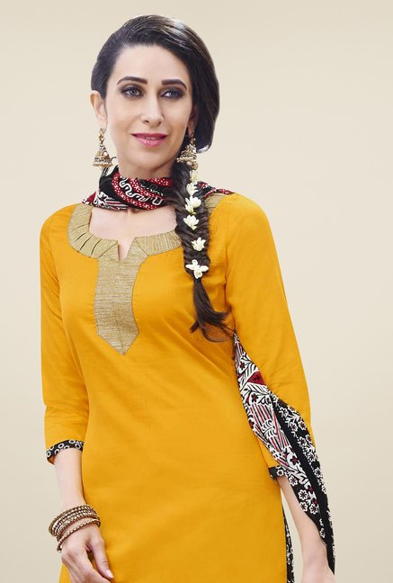 Triveni Yellow Solid Dress Material