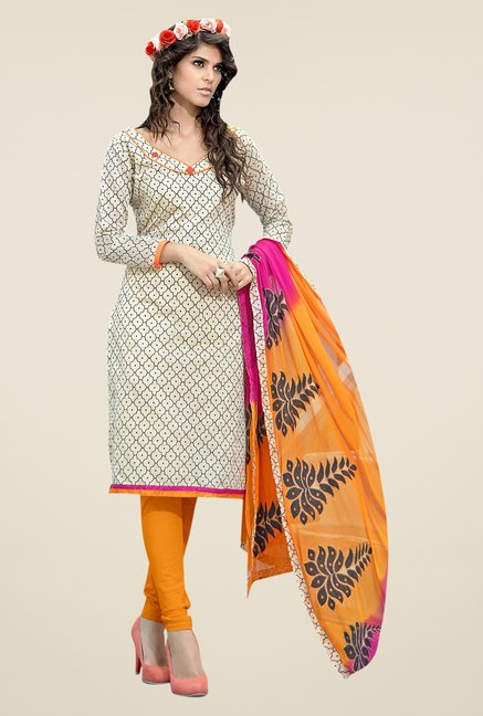 Triveni Off White & Black Printed Dress Material