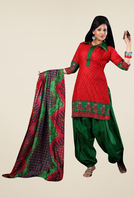 Triveni Red Printed Dress Material