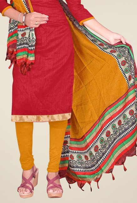 Triveni Red Solid Dress Material