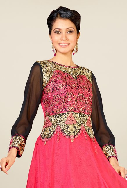 Triveni Pink Embellished Dress Material
