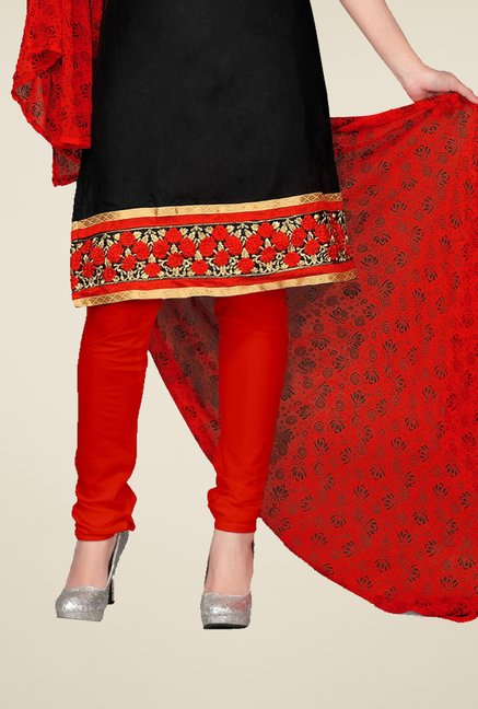 Triveni Black & Red Embellished Dress Material