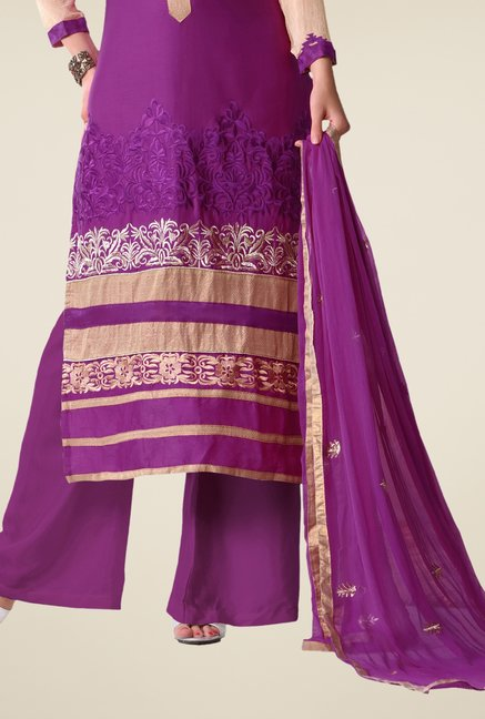 Triveni Purple Embroidered Salwar Kameez