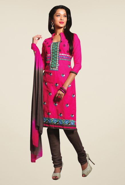 Triveni Pink Embroidered Blended Salwar Kameez