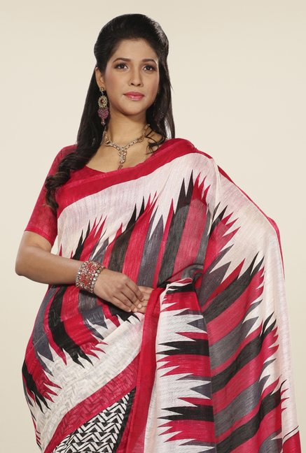 Triveni White & Red Geometric Print Art Silk Saree