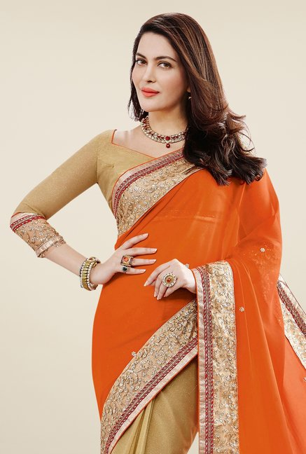 Triveni Beige & Coral Embroidered Faux Georgette Saree