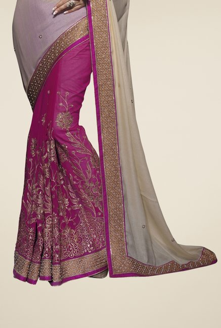 Triveni Purple & Beige Embroidered Silk Georgette Saree