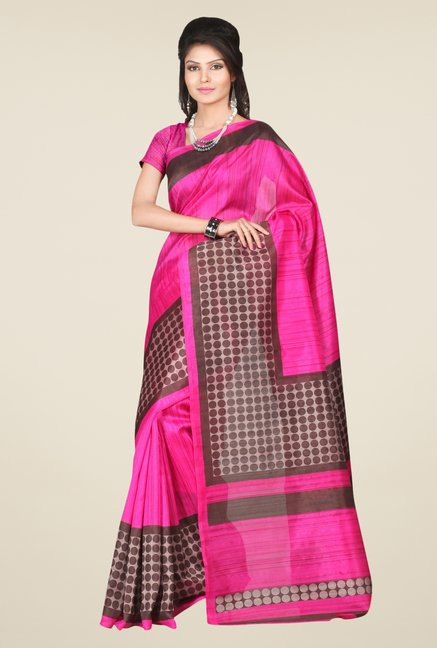Triveni Magenta & Brown Printed Bhagalpuri Silk Saree