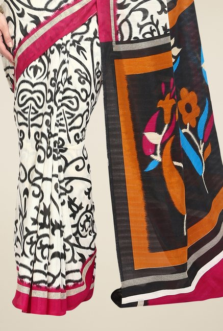 Triveni Off White Printed Bhagalpuri Silk Saree