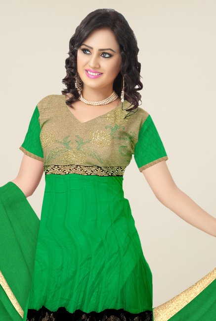 Triveni Green Embroidered Dress Material