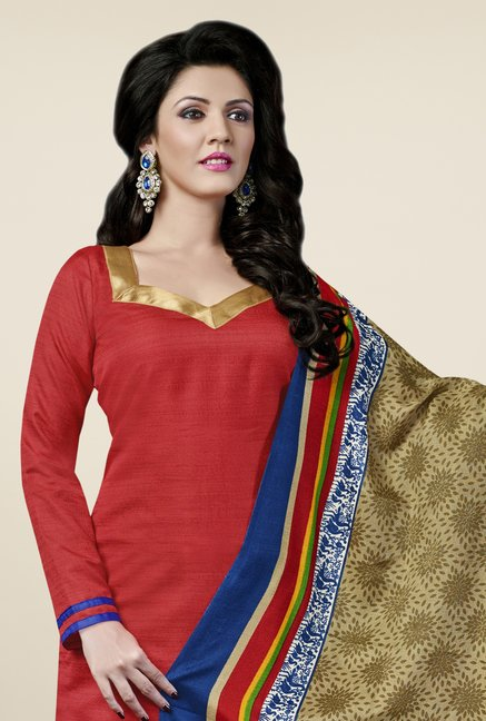Triveni Red Solid Bhagalpuri Silk Dress Material