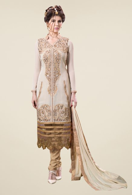 Triveni Beige Embroidered Dress Material