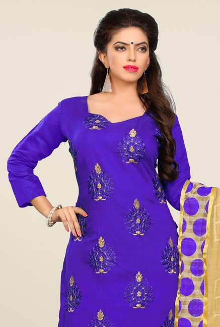 Triveni Purple Embroidered Dress Material