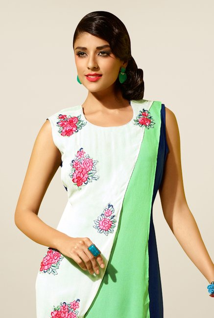 Triveni Off White Embroidered Kurta