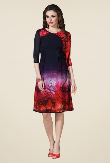 Triveni Black & Red Printed Kurti