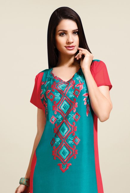 Triveni Teal & Red Embroidered Kurti