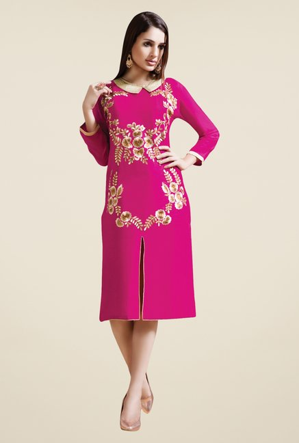 Triveni Pink Embroidered Kurti