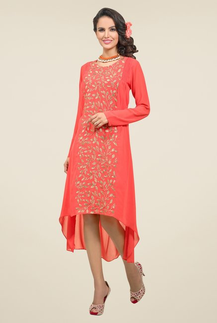 Triveni Orange Embellished Round Neck Kurti