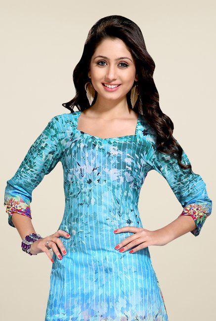 Triveni Blue Printed Square Neck Kurti