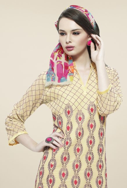 Triveni Yellow Embroidered Kurti