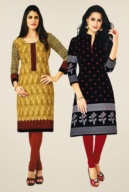Salwar Studio Mustard & Black Kurtis (Pack Of 2)