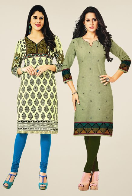 Salwar Studio Cream & Olive Kurtis (Pack Of 2)